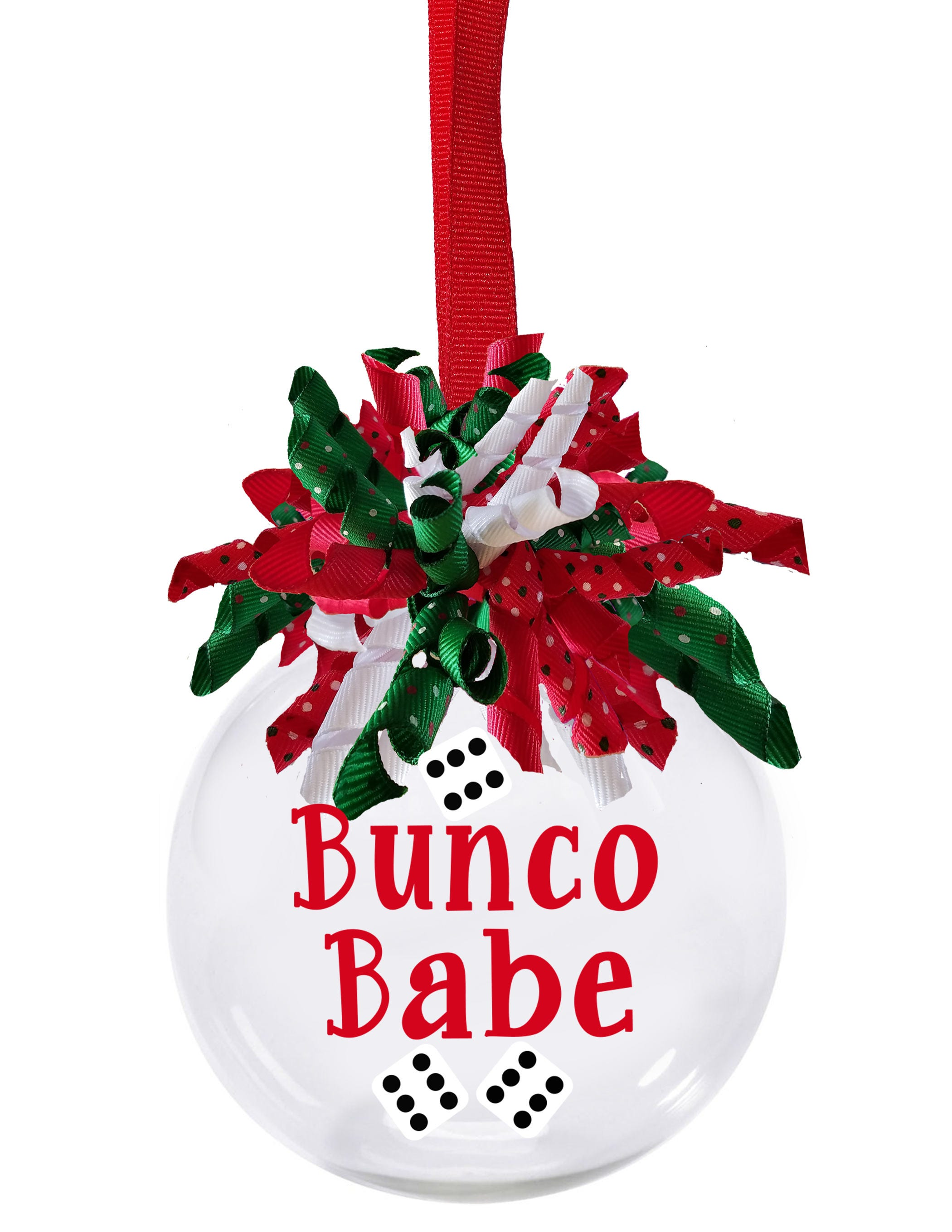 Bunco Babe Christmas ornament with Christmas korker ribbon | Etsy