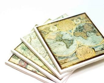 Coasters set of 4, Old World Maps, Maps Coasters, Travel coasters