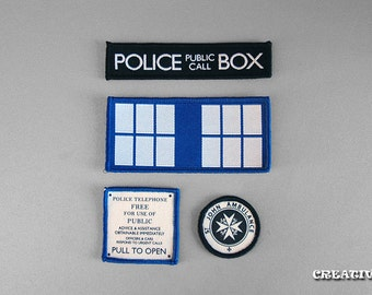 Inspired Doctor Who, Set of 4 Tardis  sew on patches
