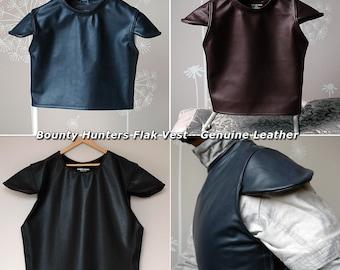 Full Grain Genuine Leather Flak Vest for Bounty Hunters Mandalorian Jango Fett