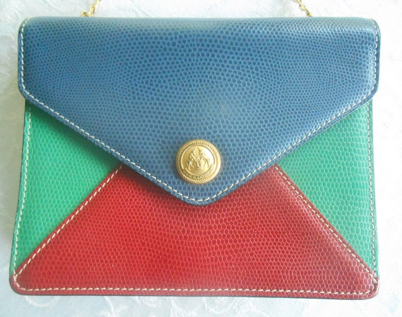 c30ee248df Vintage Designer Handbag Didier Lamarthe Paris Red Blue Green