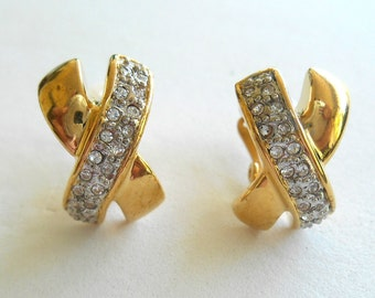 Earrings Gold Plated Rhinestone Le Bijou Goldauflage