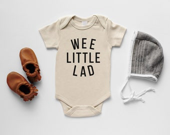 Wee Little Lad Organic Baby Bodysuit • Modern GOTS Certified Baby Outfit • Baby Boy Unique Luxe Hand-Printed Bodysuit in Cream