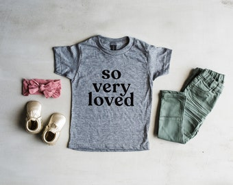 904de18b5b9 So Very Loved Gray Youth and Toddler Tee • Trendy Modern Unisex Kids T-Shirt  • So Very Loved Typographic Design • FREE SHIPPING