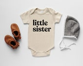 Little Sister Organic Baby Bodysuit • Modern GOTS Certified Baby Outfit • Unique Luxe Hand-Printed Bodysuit in Cream Cotton & Black Ink