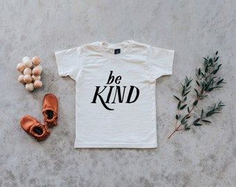 866f944fa Be Kind Youth and Toddler Tee • Organic Cotton Cream Kindness Shirt for  Kids • Be Kind Unisex Graphic Kids Tshirt in Natural • FREE SHIPPING