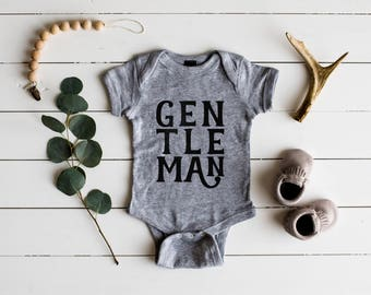 Gentleman Baby Bodysuit • Unique Baby Boy Outfit for Classy Little Men • Modern Gentleman Baby Outfit in Gray White or Cream • FREE SHIPPING