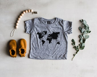 World Map Baby T-Shirt • Global Baby Tee For Adventurous Little Ones • Trendy Baby Girl Or Boy Infant Tee • Made in USA • FREE SHIPPING