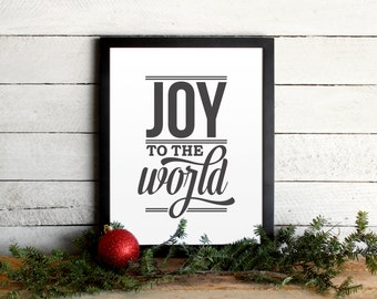 Joy To The World Lyrics Holiday Poster • Vintage Modern Typographic Christmas Print • Farmhouse Holiday Wall Art & Mantle Decor