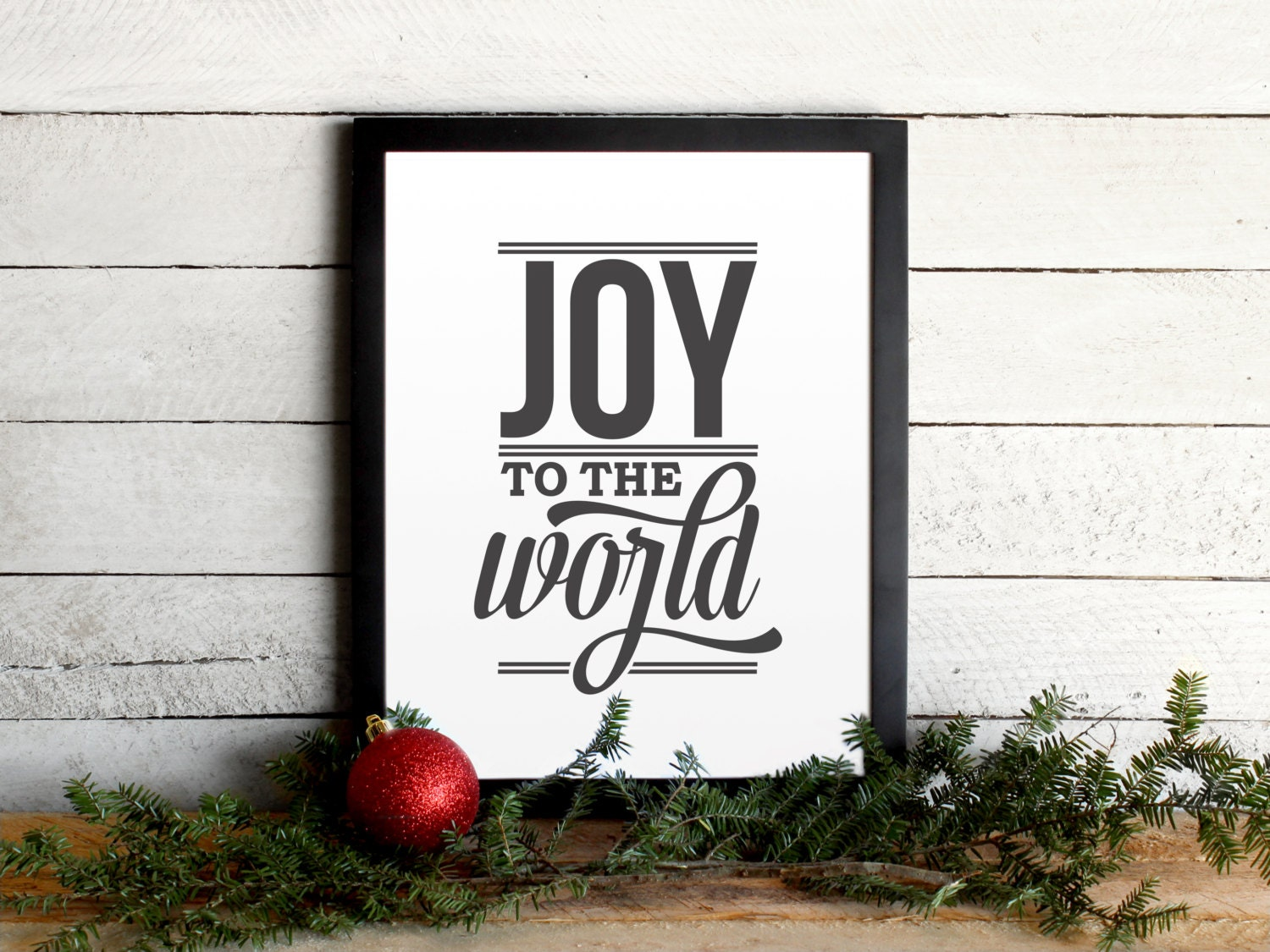 Joy To The World Lyrics Holiday Poster Vintage Modern | Etsy