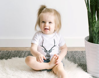 Unique Tribal Oh My Deer Infant Bodysuit • Bohemian Deer and Antlers Baby Outfit Design • Quirky Typographic Baby Design • FREE SHIPPING