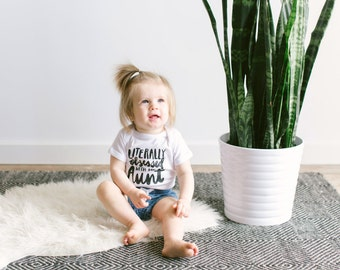 Unique Infant Bodysuit • Handlettered Literally Obsessed With My Aunt Cotton Baby Outfit • Niece or Nephew Gift from Aunt - FREE SHIPPING