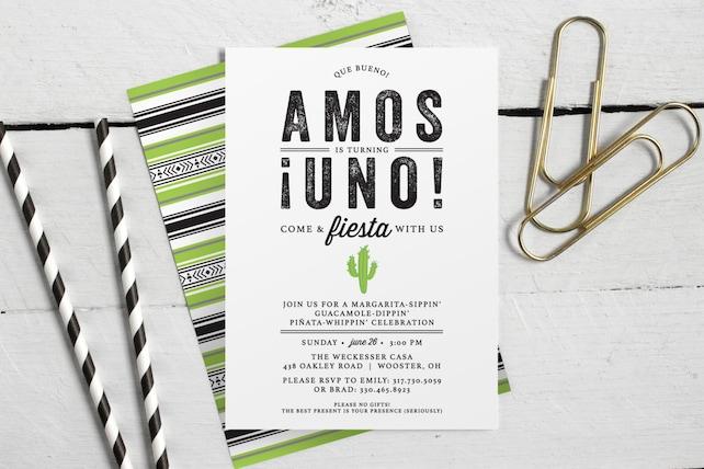 Printable Fiesta First Birthday Cactus Invitation O Unique Custom Childrens Invite Spanish Uno