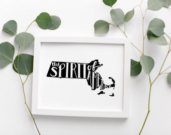 MASSACHUSETTS Hand Lettered Travel Poster • Spirit Of America Slogan • Modern Geographic Travel Poster • Massachusetts Map • Wall Art