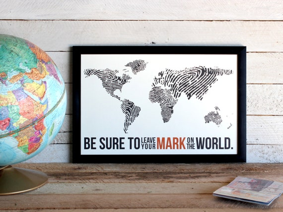 Fingerprint World Map Travel Poster Print Leave Your Mark Etsy - World map to mark your travels