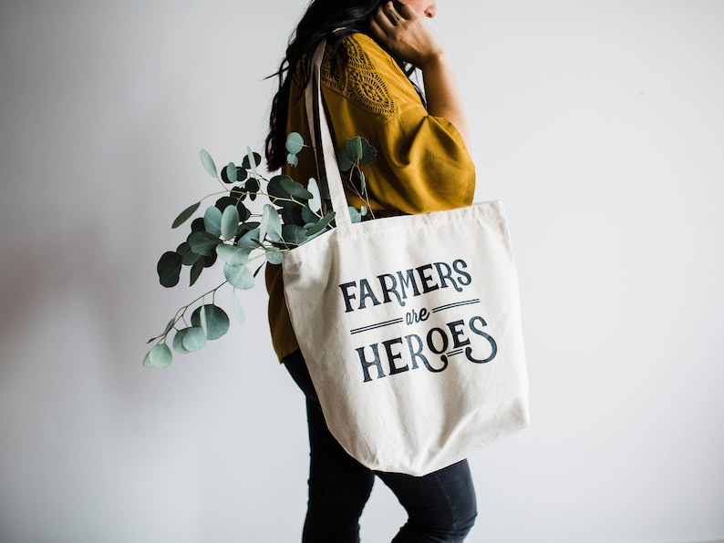 Farmers Are Heroes Tote Bag Design  Farmers Market Cotton image 0