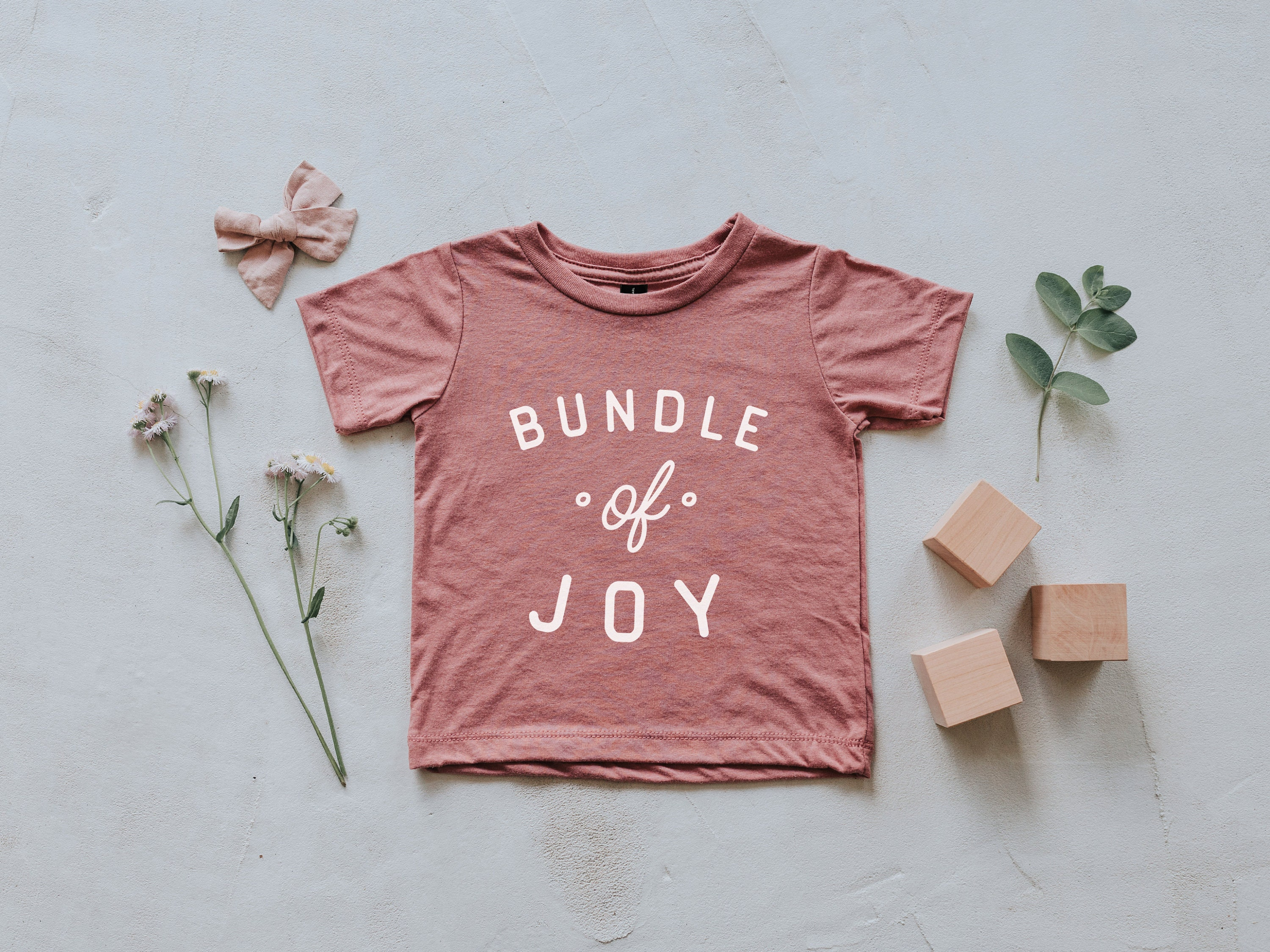768703766cbe0 Bundle Of Joy Mauve Baby & Kids T-Shirt • Modern Mauve Pink and White  Typographic Tee for Trendy Babies and Little Girls • FREE SHIPPING