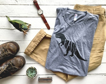 Rawr T-shirt • Funny Dinosaur Shirt • Father's Day Gift • Hand-lettered Dinosaur Design • Super Soft Gray Tee • Gift for Dad FREE SHIPPING