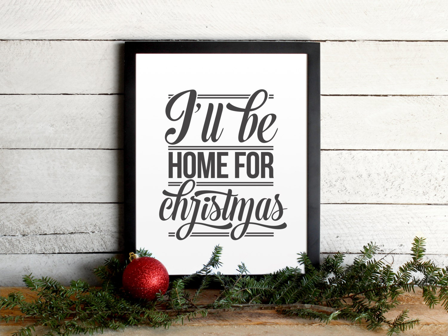 I\'ll Be Home For Christmas Lyrics Poster Vintage Modern | Etsy
