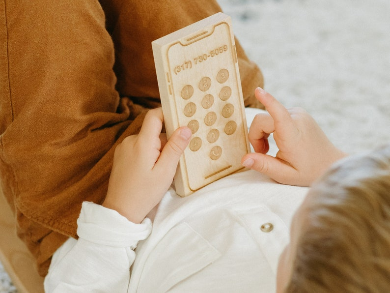 Montessori Style Wood Toys \u2022\u00a0Personalized Phone Number Engraved on Wooden Telephone for Children Custom Toy Phone \u2022\u00a0Engraved Wooden Phone
