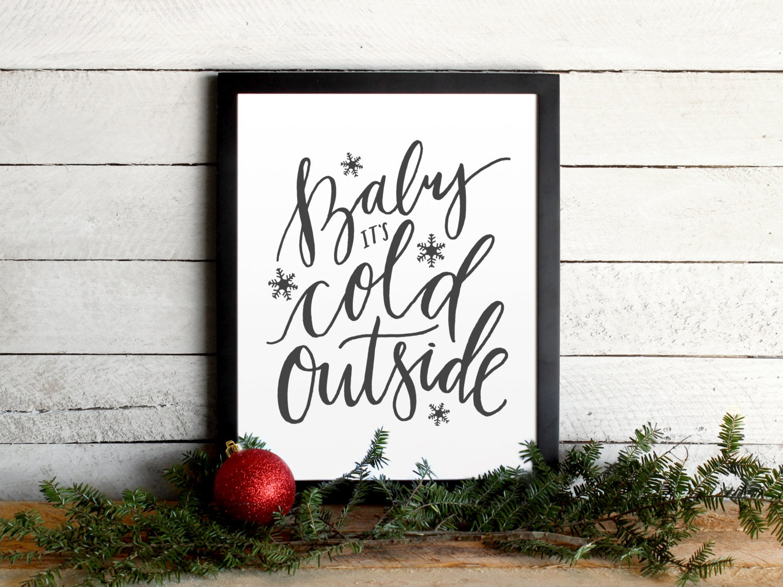Baby It\'s Cold Outside Christmas Lyrics Poster Modern | Etsy