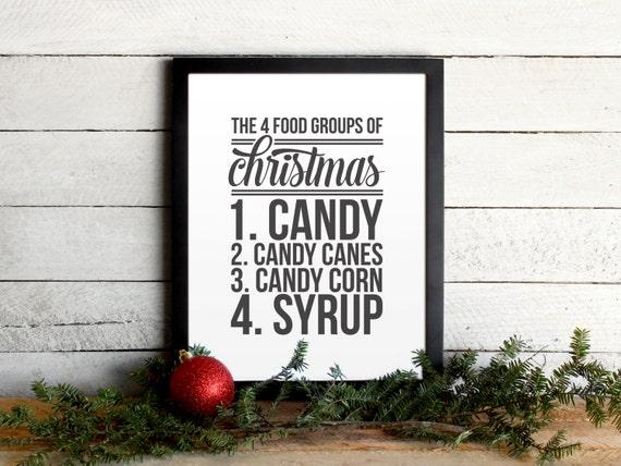 Elfe Du Film Citation Affiche Les 4 Groupes Alimentaires De Noël Imprimer Noël Typographique Moderne Vintage Poster Ferme Vacances Wall Art