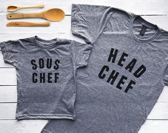 Head Chef & Sous Matching Parent Child Shirts • Graphic Tees for Families • Matching Family Tops for Mother's / Father's Day • FREE SHIPPING