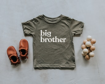 Big Brother Olive Green Baby & Kids T-Shirt • Unique Trendy Graphic Tee for Brothers • Super Soft Matching Brother Tri-Blend Tees