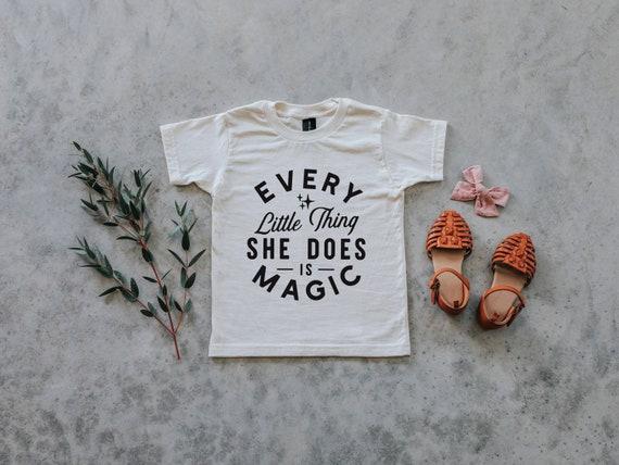 Every Little Thing She Does Is Magic Cream Girls Tee \u2022 Organic Cotton Shirt for Girls \u2022 Trendy Organic Girls Top in Natural \u2022 FREE SHIPPING