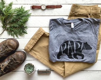 Papa Bear T-shirt • Unique Gift for Fathers •Hand-lettered Typographic Bear Design • Super Soft Gray Tee • Gift for Dads • FREE SHIPPING