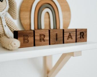 Custom Name Wooden Blocks •Handmade Personalized Blocks on Solid Wood • Montessori Wooden Toy & Nursery Decor • Handmade in USA