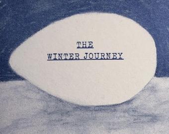 Winter Journey - Risograph map fold art zine A6 / Antarctica Adventure Penguins Travel Journal Exploration Art / Captain Scott Worst Journey
