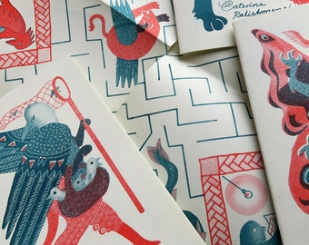 Many Monsters - A6 risograph art zine with hybrid creatures, featuring a labyrinth in a fold out map, inspired by medieval manuscripts