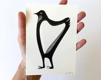 Bird Harp A6 Riso miniprint / postcard-size print of bizarre hybrid creature / funny illustration art / gift for musician / stocking filler