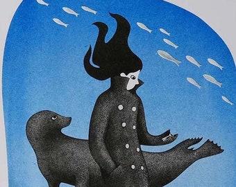 "Selkie A4 Riso Print / ""The Key"" gift art / Celtic Folktale Mermaid Illustration / Gift for Swimmer / Childrens Room Wall Decor / Risograph"