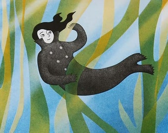 Selkie riso print A3 - Kelp Forest / folktale illustration / wild swimming wall decor / seaweed and seals art / eco print / gift for swimmer