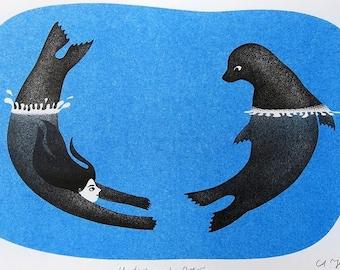 "Selkie Riso ""Under and Over"" / A5 risograph illustration art print / Scottish Folktale Storytelling / Wall Decor for Childrens Room / Ocean"