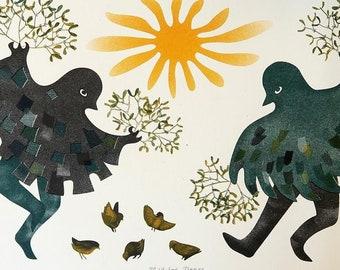 Mistletoe Dance risograph print / A4 folk art illustration / mummers midwinter folk dance / Christmas Yule Winter Solstice Seasonal Art Gift