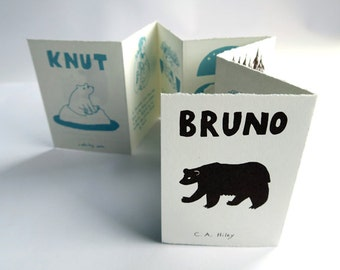 Knut/Bruno - In Memory of Two Bears / handprinted artist book, silkscreen concertina art book, wild animal polar bear, collector item gift