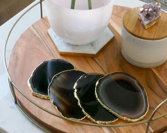 BLACK agate coasters. dark brown and white gem coasters. GOLD or SILVER rims. drink coaster set. home decor. bar coasters.