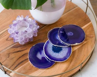 PURPLE agate coasters. GOLD or SILVER rim geode coasters. gem coasters. coaster set. home decor. housewarming gift. table decorations