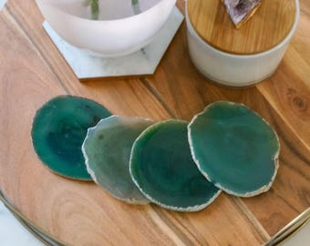 GREEN agate coasters. emerald geode coasters. gem coasters. SILVER or GOLD rim. drinkware coaster set. home decor. bar coasters