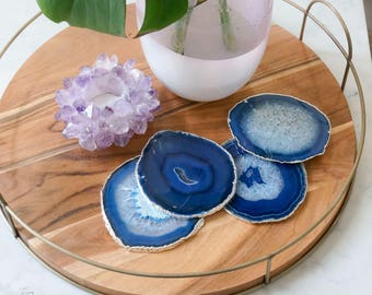 BLUE agate coasters. GOLD or SILVER rim. geode coasters. gem coasters. coaster set. home decor. drinking coasters. housewarming gift.
