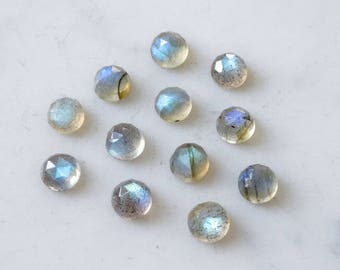 6mm AAA Labradorite faceted cabochon. rose cut labradorite blue flash rose faceted labradorite cab blue gray gemstone