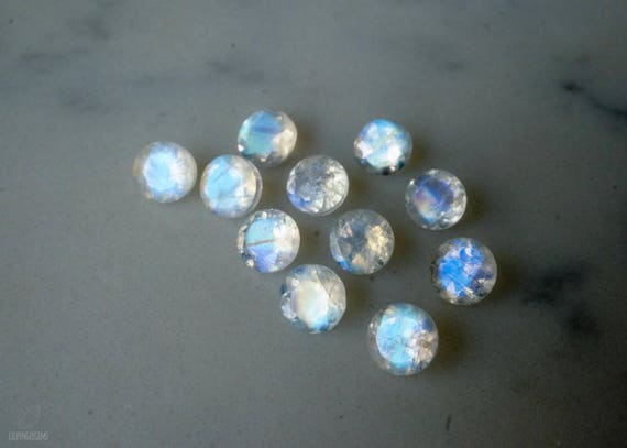 Rainbow Moonstone Faceted Round Calibrated 6 MM White Color Gemstone Natural