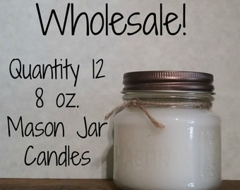 Wholesale 12 pack - 8 oz. Mason Jar Candles - Soy Blend