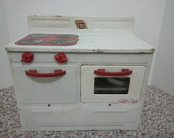 Little Lady toy stove, red and white, with original cord!