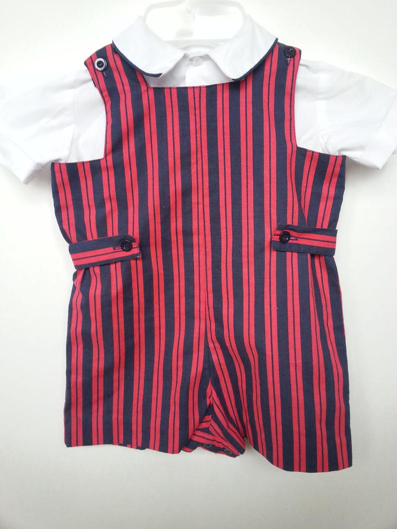 284417777c0 Two piece set white short sleeve shirt red and blue striped