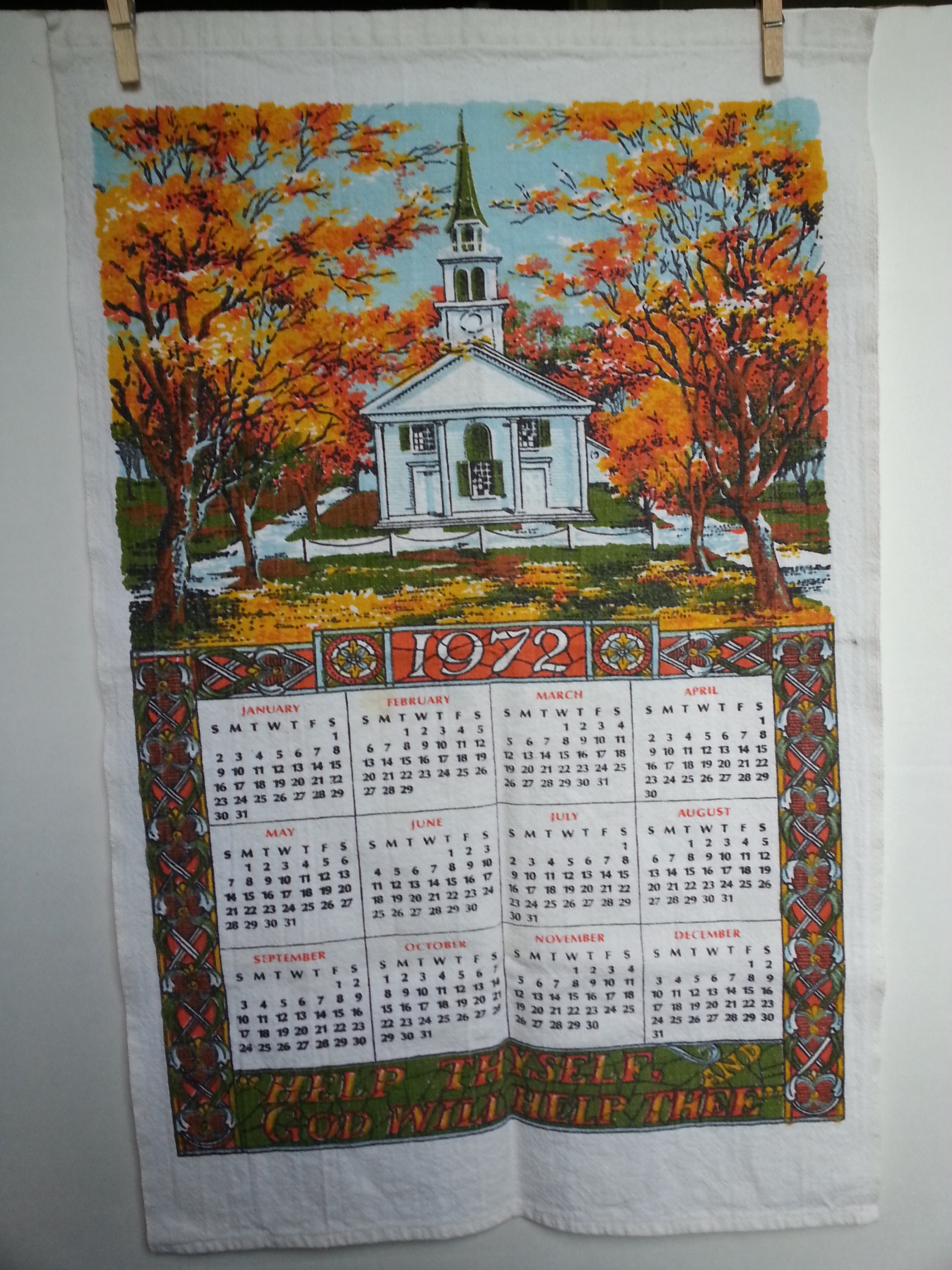 1972 Linen Calendar Dish Towel Autumn Church Etsy