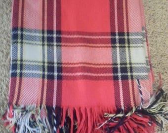 Vintage red, blue and cream plaid throw blanket, 65 by 60 inches
